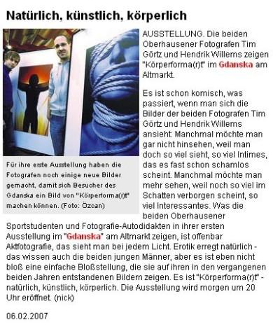Tim Görtz - NRZ Zeitungsbericht - Fotografie
